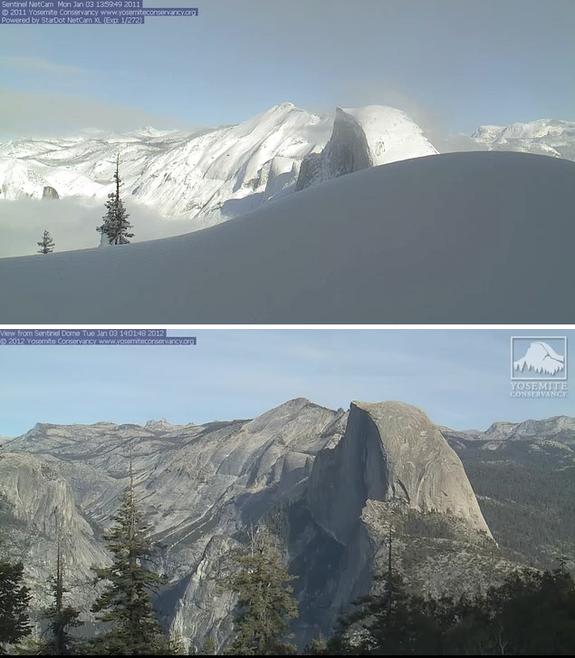 Yosemite January 3, 2011 and January 3,2012